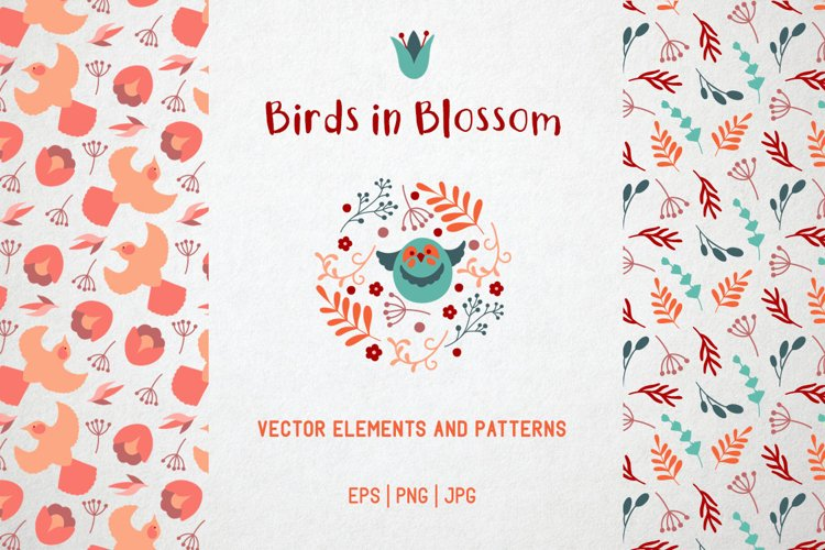 Birds in blossom. Flowers and birds vector clipart example image 1