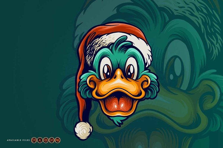 Merry Christmas Cute hat Duck Mascot example image 1