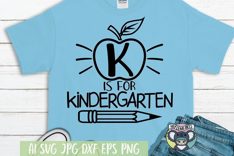 K is for Kindergarten svg, Files for Cricut, Cut File, dxf example image 1