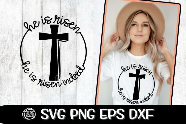 HE IS RISEN - Cross - SVG - EASTER -SVG PNG EPS DXF