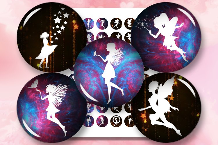 Fairies Printables, Digital Collage Sheet, Fairies Cabochon example image 1