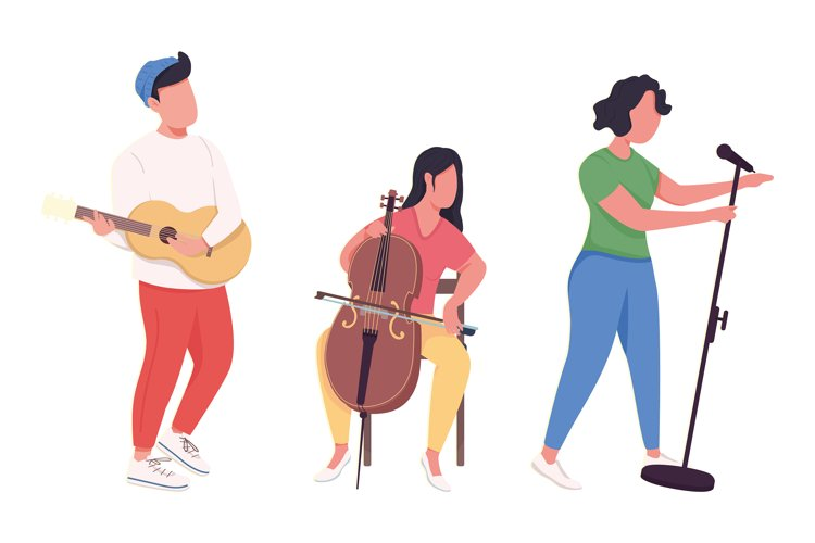 Music band performance flat color vector faceless characters example image 1