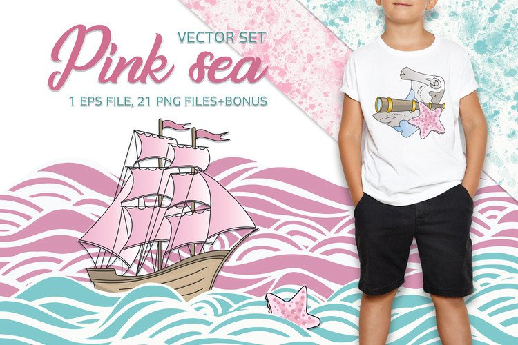 PINK SEA Color Vector Illustration Set example image 1