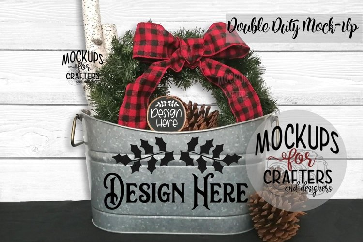 Christmas Double Duty Mock-Up - Planter & Wood Ornament