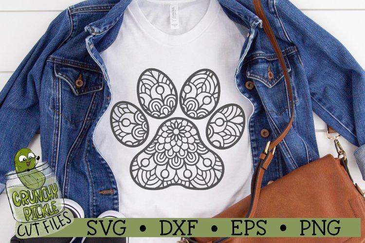 Mandala Paw Print SVG Cut File example image 1