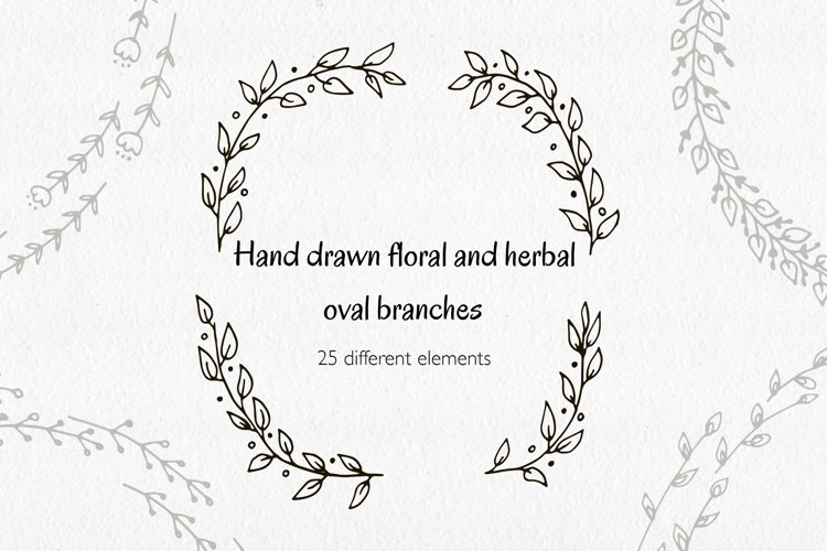 Hand drawn floral and herbal oval branches.