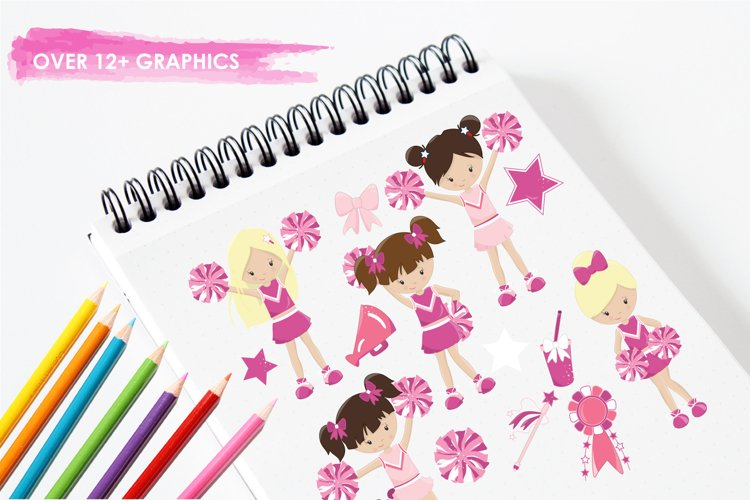 Cheerleaders graphics and illustrations - Free Design of The Week Design1