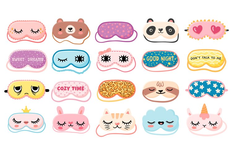 Masks for dreaming. Night mask with cute girl eyes, sleep qu