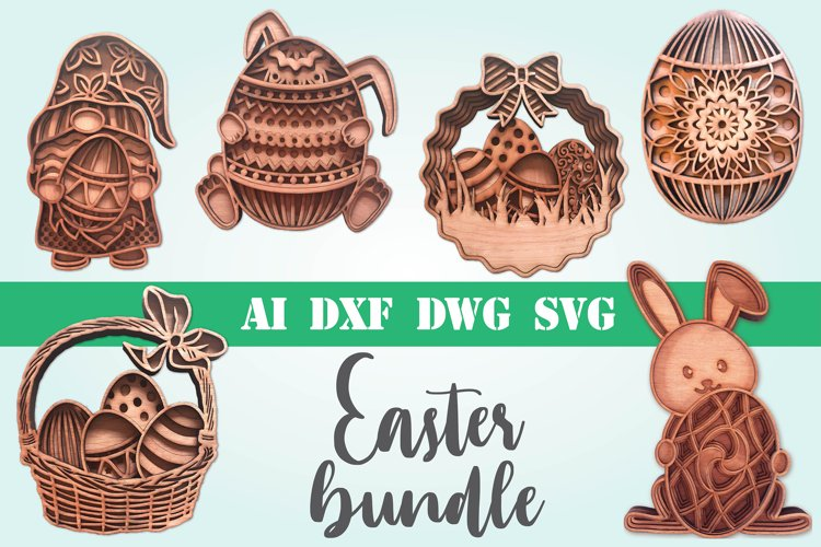 Easter bundle 3d svg dxf layered Multi layer mandala bunny example image 1