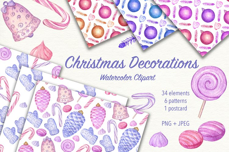 Christmas Decorations. Watercolor clipart. JPEG, PNG example image 1