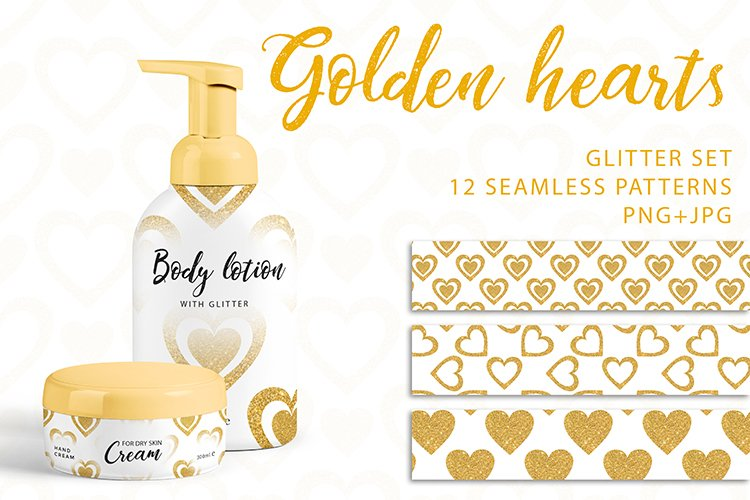 Golden Hearts. PNG, JPG example image 1