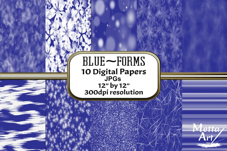 Blue Forms - 10 Digital Papers/Backgrounds example image 1