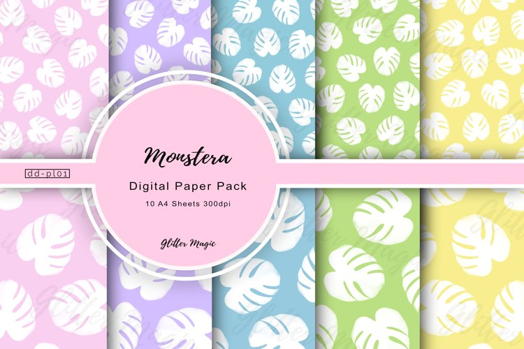 Monstera Leaf Cheesplant Bright Craft Papers 10 A4 Sheets