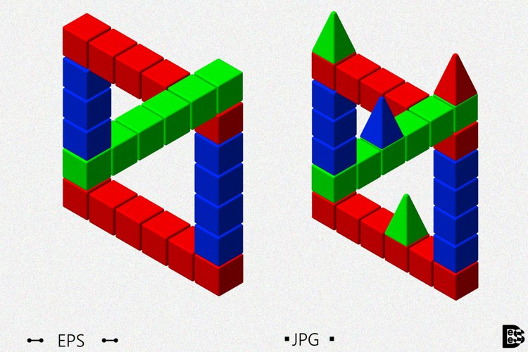 Incredible figure from toy building blocks. 3d Vector. example image 1
