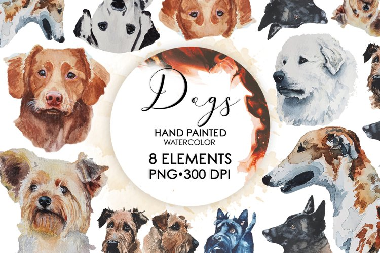 Dog Clipart, Watercolor Dog Clipart, Dog Bundle, Pet Bundle example image 1