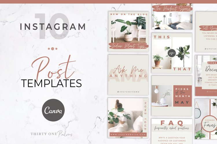 Instagram Post Templates for Canva | Beige & Rust example image 1