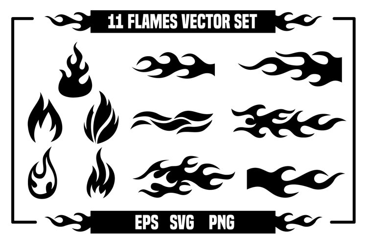 11 Fire and flames vector set