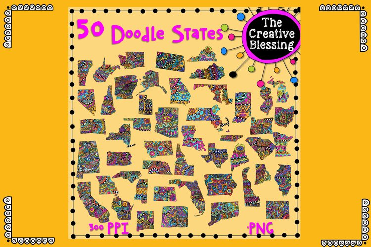 50 Doodle States example image 1