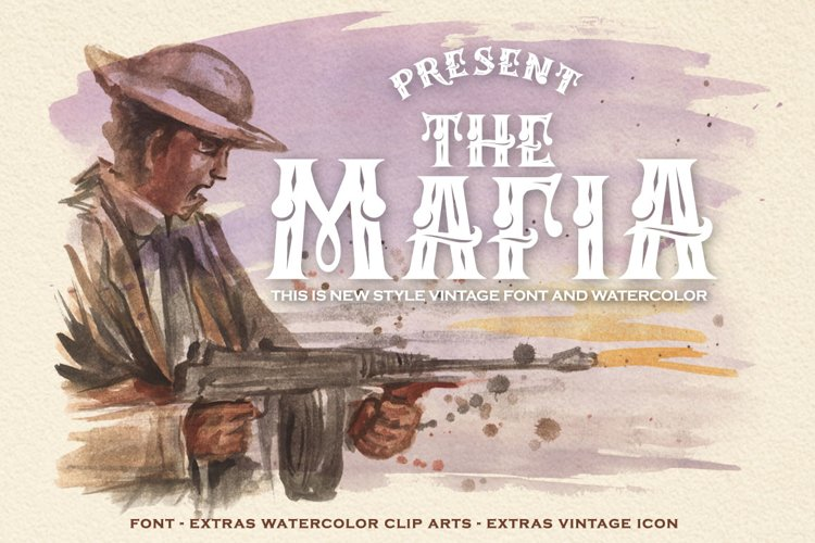 Mafia Font and Watercolor