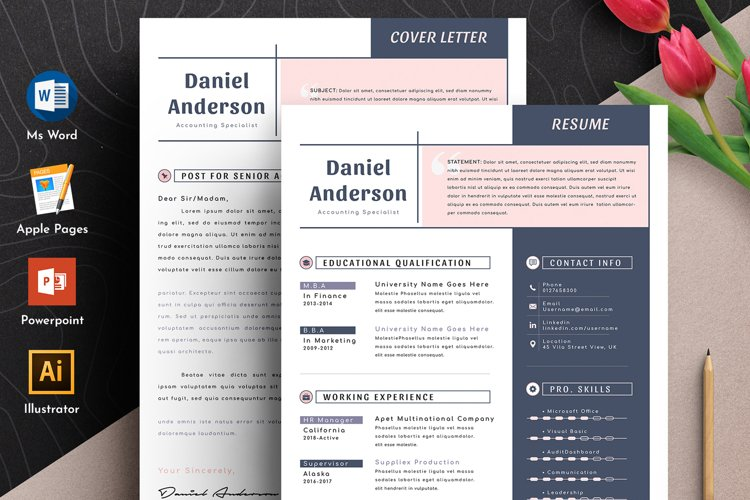 Clean Editable Resume Cv Template in Word Apple Pages example image 1