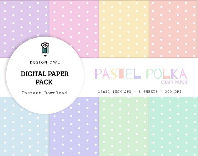 Pastel polka dots - Digital paper pack