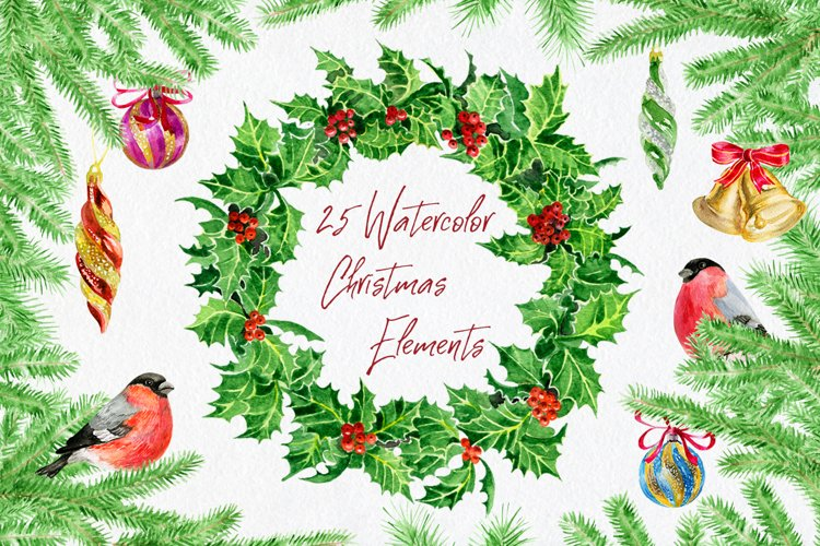 Watercolor Christmas elements example image 1