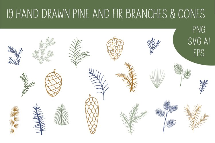 Pine cone, pine branches SVG Files example image 1