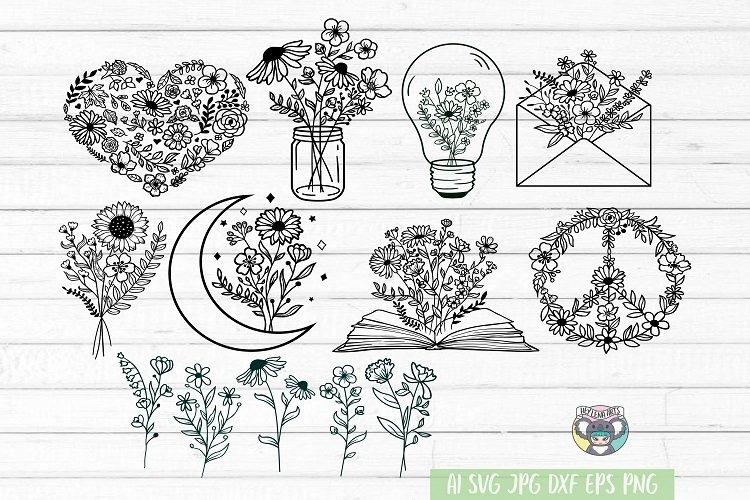 Wildflower Bundle, Floral Moon, Bouquet, Mason Jar