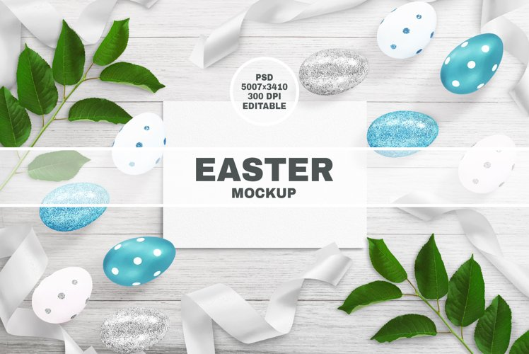EASTER MOCKUP. PSD Frame and Card Mockups. Easter Eggs.