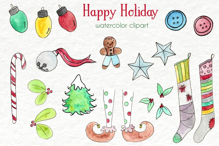Watercolor Clip Art - Christmas, Holidays example image 1