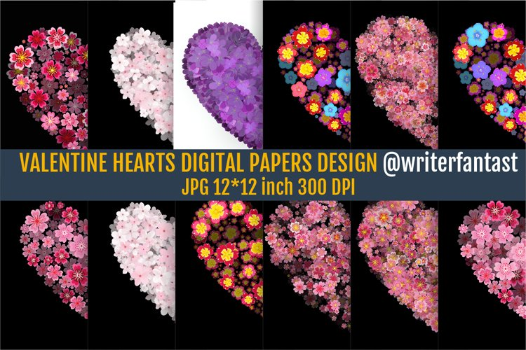 Digital papers Valentines Day Flowers Hearts example image 1