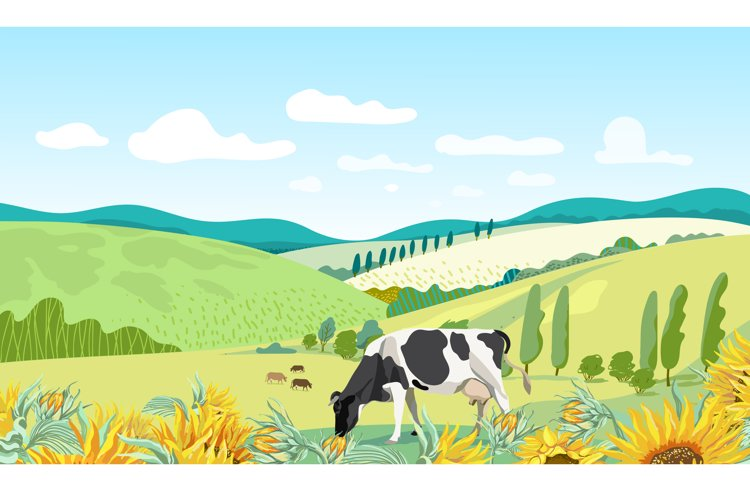Summer rural background with cows. example image 1