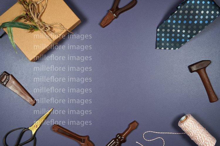 Fathers Day Masculine Framed Border Background Flatlay Photo example image 1