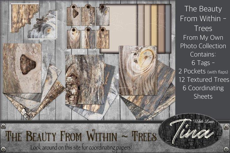 Natural Wood Tree Rings Textured Surfaces Rustic Pockets Tag example image 1