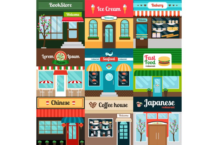 Different kind of food restaurants facade example image 1