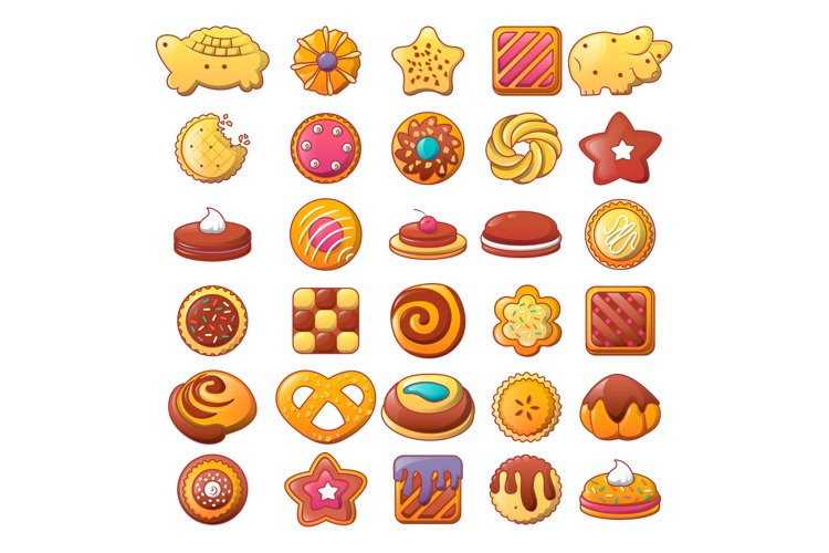 Biscuit cookies icons set, flat style example image 1