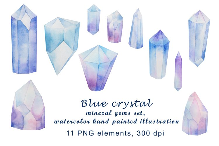 blue crystal mineral gems set, watercolor hand painted