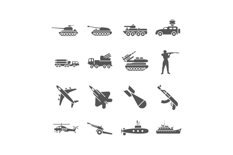 Army, military vector icons set example image 1