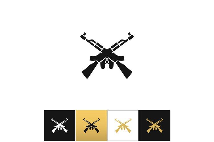 Crossed machine guns like kalashnikov ak47 vector icon example image 1