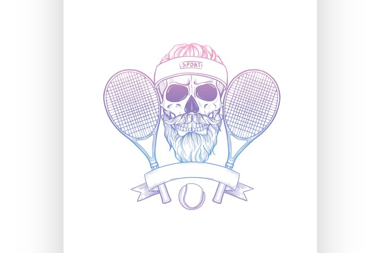 Sketch, skull with tennis racquet example image 1