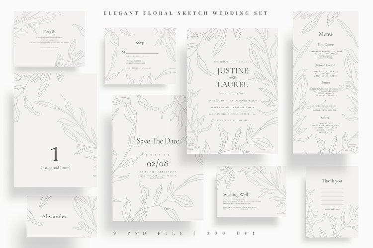Elegant Floral Sketch Wedding Set