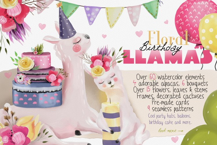 Floral Birthday Llamas example image 1