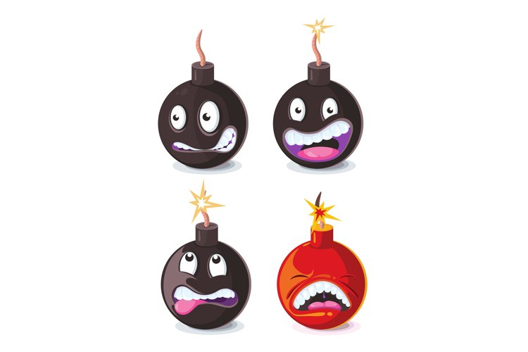 Funny cartoon wicked bombs emoji vector illustration example image 1