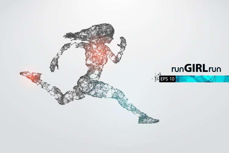 Silhouettes of a running athlete, woman, AI, EPS, PNG example image 1