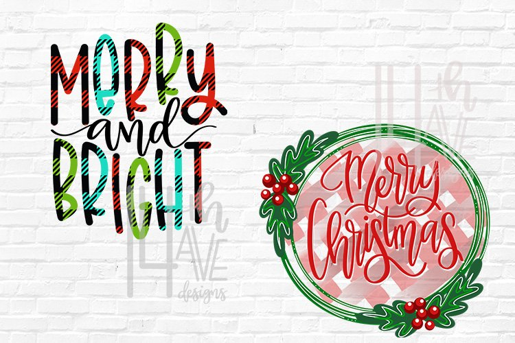 Christmas PNG, Merry and Bright, Merry Christmas, Plaid