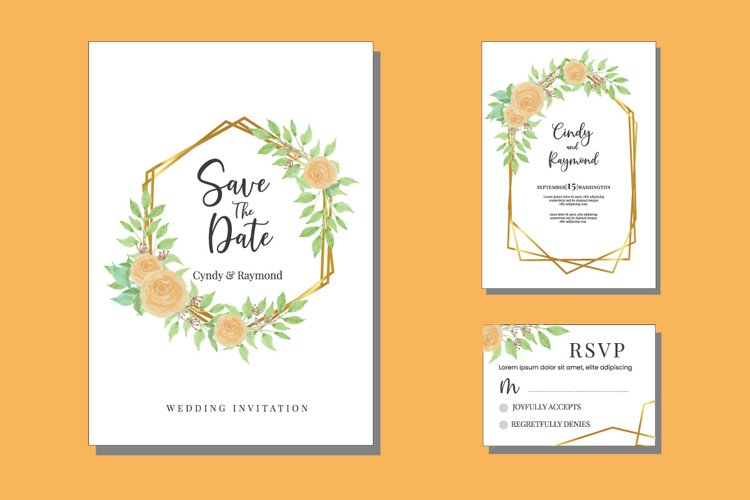 Floral Wedding Watercolor Invitations Set Card SVG example image 1