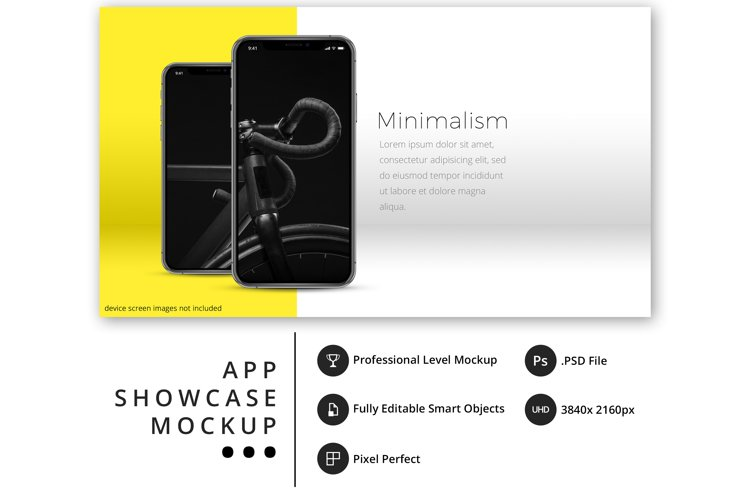 psd mockup with 2 iPhone 11 Pro in bold, minimal display example image 1