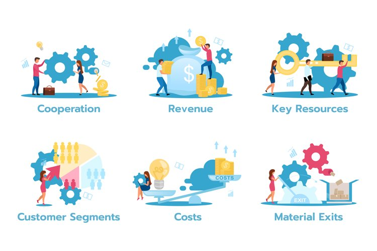 Business model flat vector illustrations set example image 1
