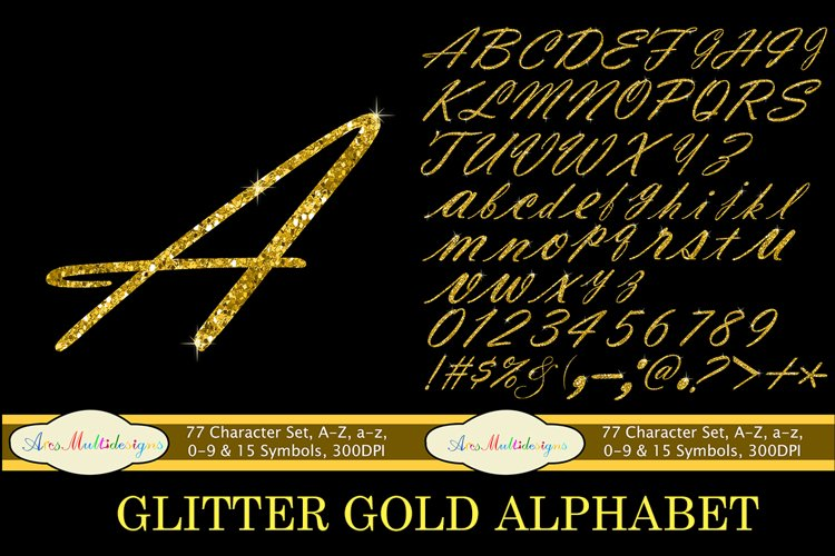 Glitter gold alphabet script / PNG high quality alphabet set for all kind of projects / digital fonts / gold letters / gold fonts
