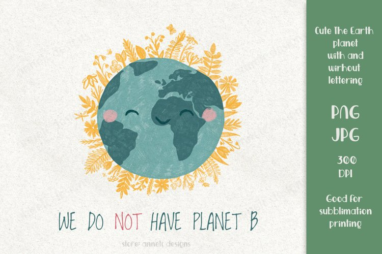 Cute The Earth planet with herbs. For sublimation print PNG